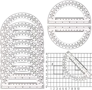 Kuqqi 10 Pack Clear Plastic Protractors,Student Math Protractor 180 Degrees,6 Inch Professional Geometrical Protractor for...