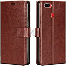 Xester® Vintage Leather Flip Cover Case Compatible with Oppo A5S | Inner TPU | Foldable Stand | Magnetic Closure | Wallet Card Slots - Brown