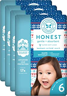 The Honest Company Baby Diapers with True Absorb Technology, Cozy Sweater, Size 6, 72 Count