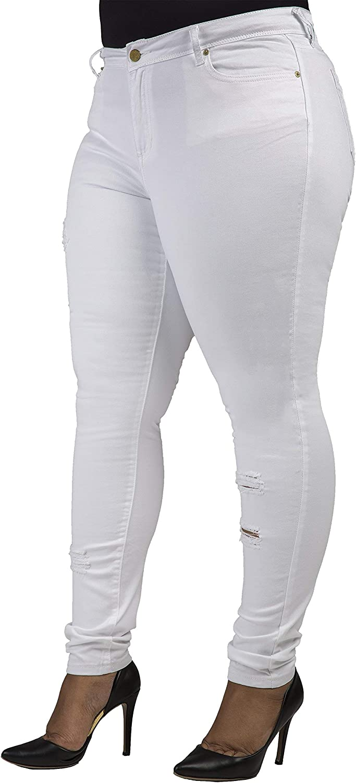 Poetic Justice Plus Size Women's Curvy Fit White Denim Light Destroyed Jeans
