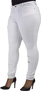 Plus Size Women's Curvy Fit White Denim Light Destroyed...