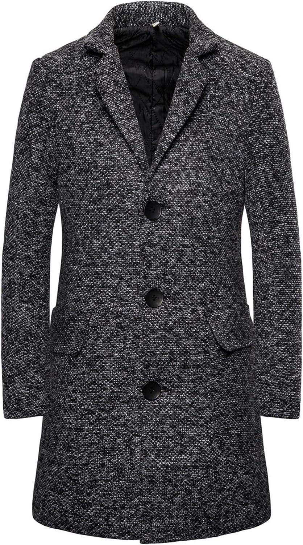 WSIRMET Men's Fashion Lapel Long Sleeve Single Breasted Wool Blend Pea Coat Warm Winter Coat Trechcoat