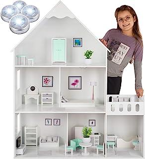 Kinderplay duży drewniany domek dla lalek typu Barbie – wersja z miętowo-zielonymi dodatkami, 38 akcesoriów w zestawie, mo...
