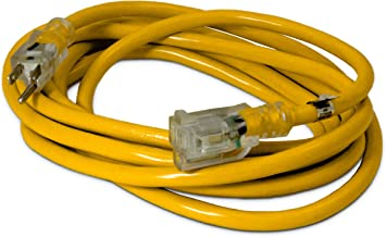 15-ft 12/3 Heavy Duty Lighted SJTW Indoor/Outdoor Extension Cord by Watt's Wire - Yellow 15' 12-Gauge Grounded 15-Amp Three-Prong Power-Cord (15 foot 12-Awg)
