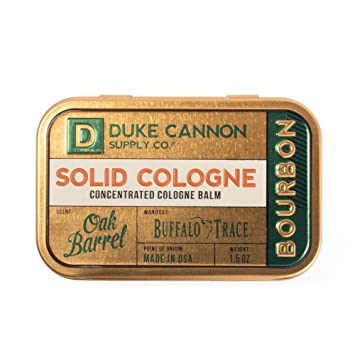 Duke Cannon Supply Co. - Solid Cologne Balm, Bourbon (Buffalo Trace Bourbon Fragrance) (1.5 oz) Concentrated Mens Cologne Concentrated Balm - Warm, Woodsy, Oak Barrel Scent, Bourbon Trail