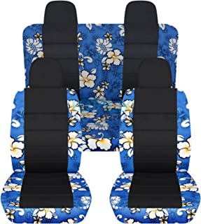 Totally Covers compatible with 2007-2017 Jeep Compass/Patriot Hawaiian & Black Seat Covers: Blue w Flowers - Full Set (4 P...