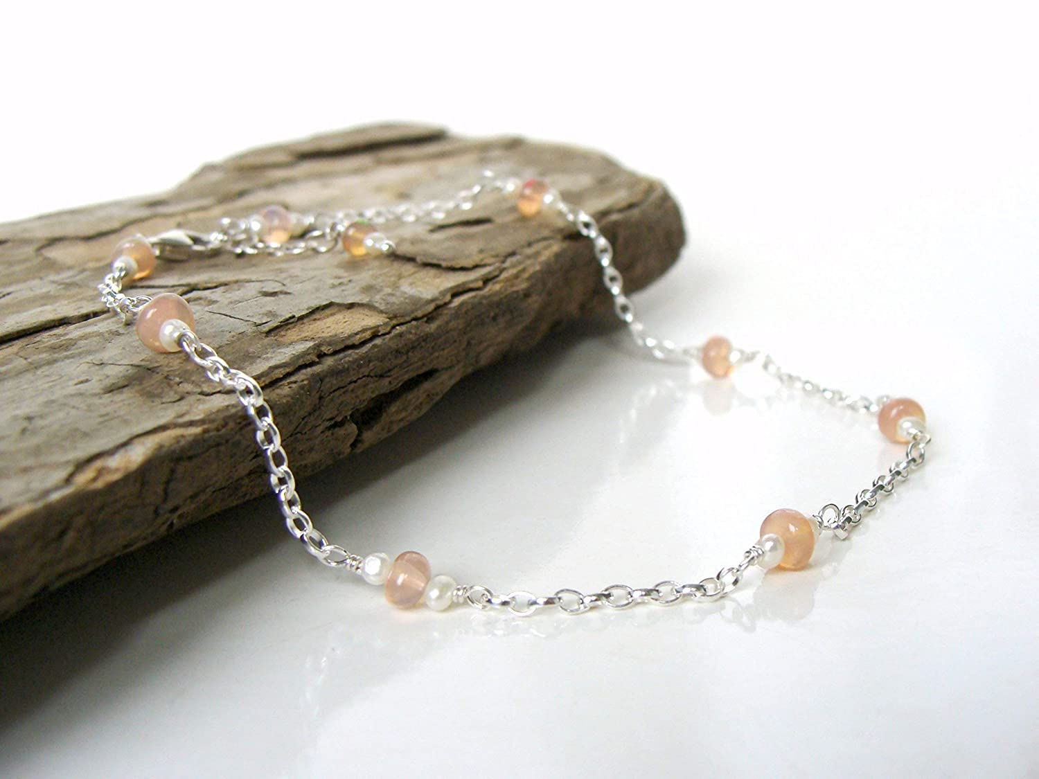 Pink opal and seed pearl sterling Austin Mall anklet with Argentium Super special price silver