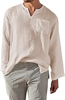 AUDATE Camisa de lino para hombre, mezcla de algodón, camisa informal Henley, manga larga, corte holgado