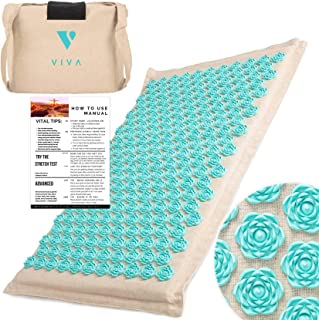 Acupressure Mat for Back Pain Relief Organic Linen Cotton With Carry Bag | Neck Stress Sciatica Relief Trigger Point Relaxation Therapy Better Deeper Sleep