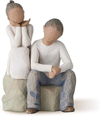 Willow Tree Brother and Sister (Darker Skin Tone & Hair Color), Sculpted Hand-Painted Figure