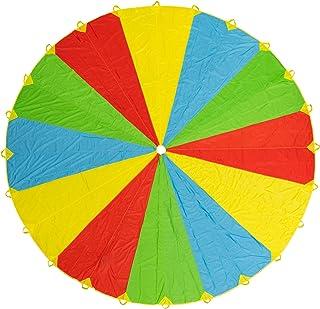 comprar comparacion Paracaídas de Color Grande Arcoiris de 20 pies - Con 24 asas - Diversión y entretenimiento para niños y bebés pequeños - P...