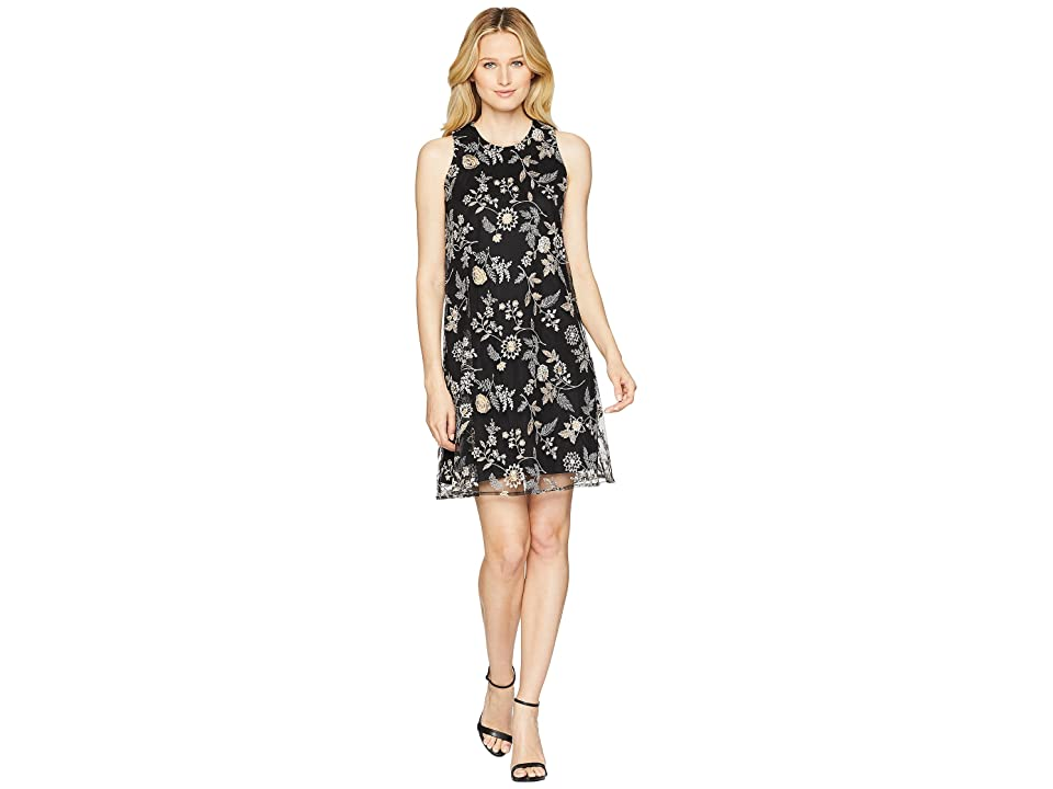 Calvin Klein Embroidered Chiffon Trapeze Dress CD8HA7NJ (Black Multi) Women