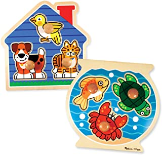 Melissa & Doug Animals Jumbo Knob Wooden Puzzles Set - Fish and Pets