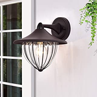 Outdoor Wall Lantern Exterior Waterproof Wall Sconce Light Fixture Rusty Finish Wall Mount Light with Blown Stripe Glass, Industrial style Pumpkin style E26 Socket Wall Lamp for Porch Entryway Doorway
