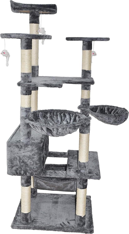 Roypet Fashion Design 65.3  Large Cat Tree With Big Hammock, grey