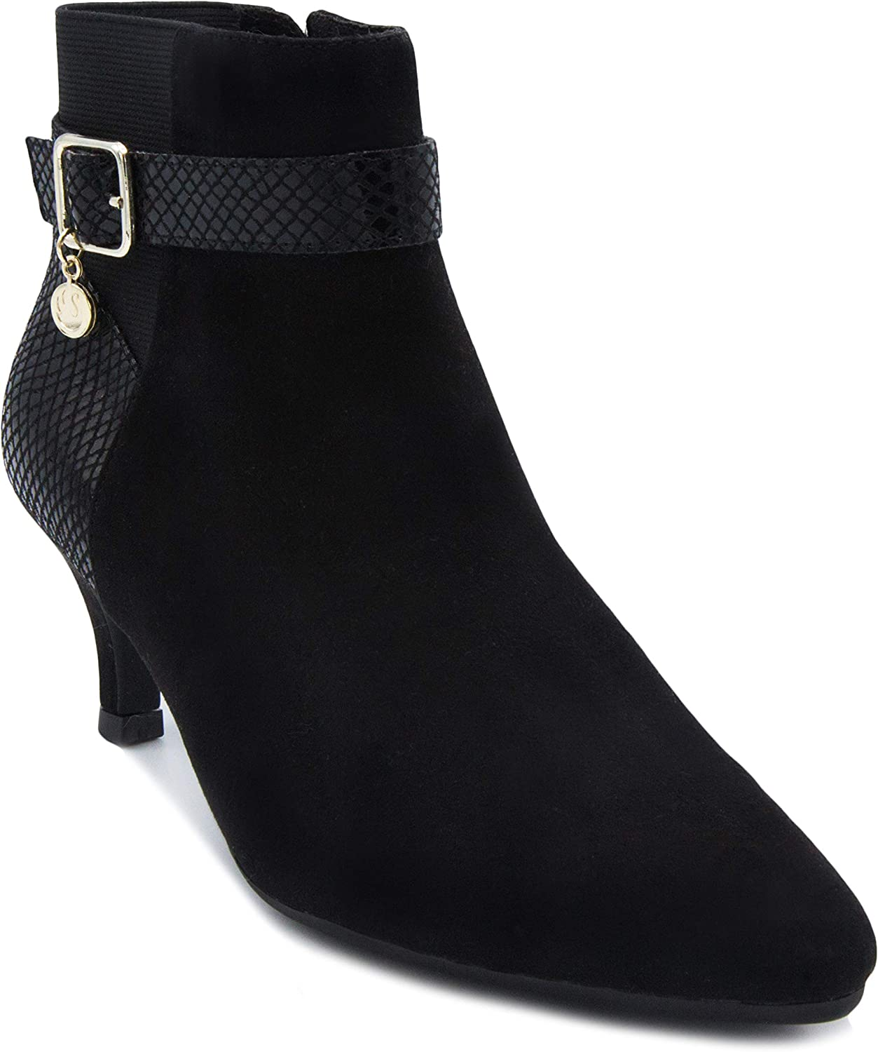 Gloria Vanderbilt Women's Hawn Dress Ankle Boot Ladies Side Zipper Bootie Available in Wide Width Black 7.5