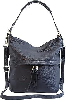 AmbraModa GL024 - Bolso de mano piel auténtica, bolso de hombro para mujer