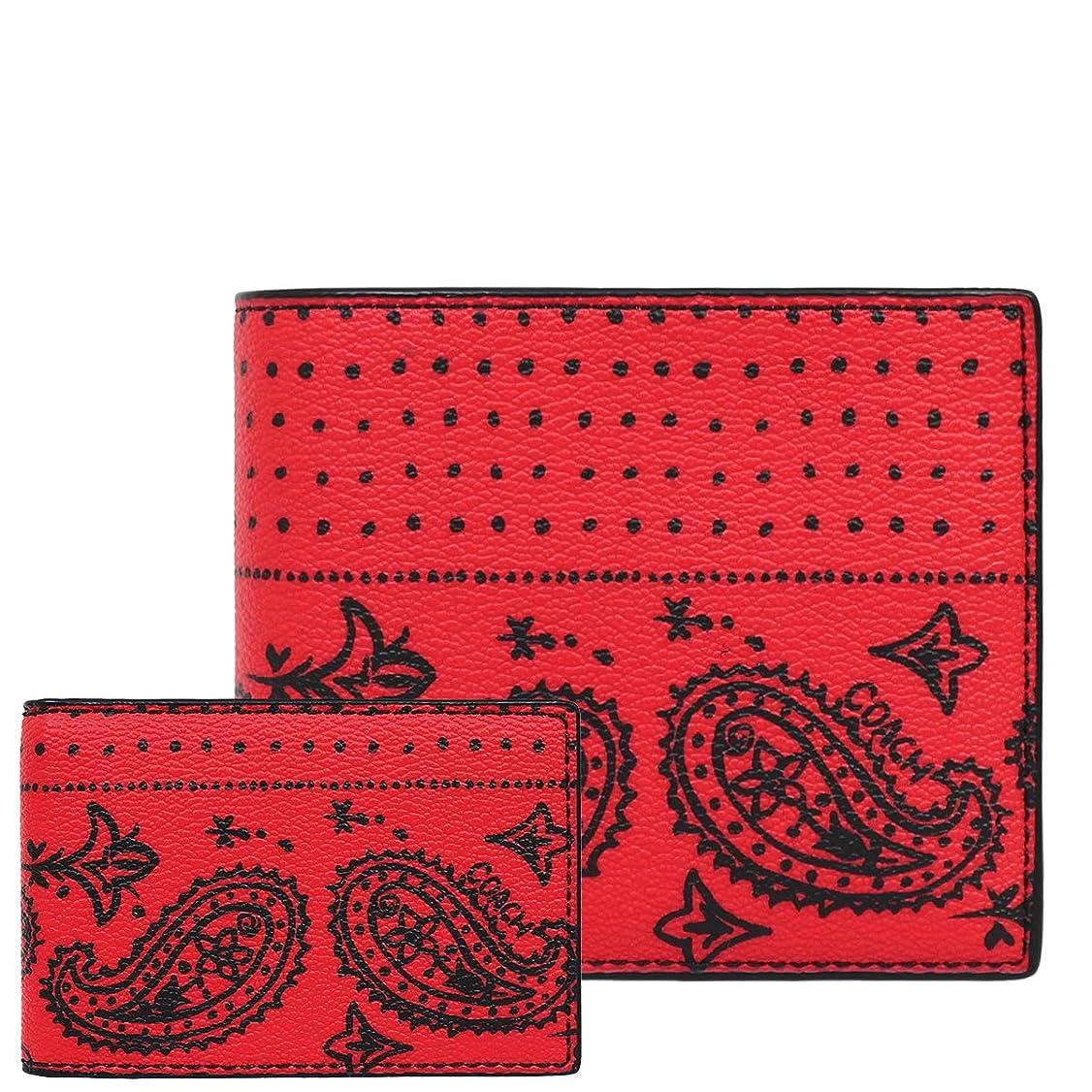 ページ複雑かわいらしい[コーチ] COACH 財布 (二つ折り財布) F57653 レッド×ブラックバンダナ LLR レザー メンズ レディース [アウトレット品] [並行輸入品]