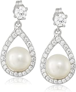 Platinum-Plated Sterling Silver, Cubic Zirconia, and Freshwater Cultured Pearl Drop Earrings