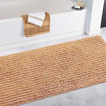 DEARTOWN Non-Slip Shaggy Bathroom Rug,Soft Microfibers Bath Mat with Water Absorbent, Machine Washable (24x39 Inches, Marzipan)
