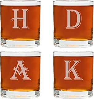 4 Piece Custom Engraved Set-Mix and Match Monogram Whiskey/Bourbon Glass Set- Choose any Letter for each Glass