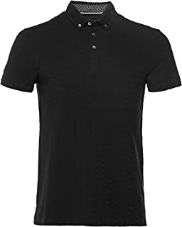 Guide London Men's Jacquard Wave Polo Shirt Black