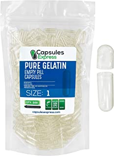 Capsules Express- Size 1 Clear Empty Gelatin Capsules 500 Count - Kosher and Halal - Pure Gelatin Pill Capsule - DIY Powde...