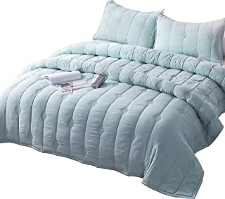 ANNA.Z HOME Ethan Comforter, Quilt, Stone Washed Microfiber 3 Pieces Set, Stitching and Embroidery, King and Queen Set Available in Solid Colors, Good for All Seasons. (Cloud Blue, King Set)