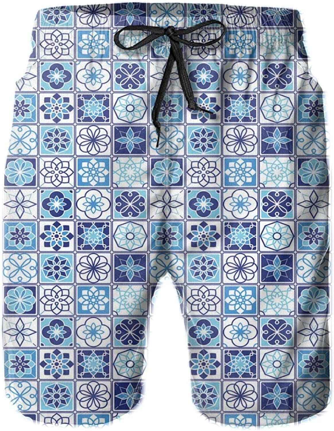 Folkloric Portuguese Pattern with Floral Motifs in Squares Drawstring Waist Beach Shorts for Men Swim Trucks Board Shorts with Mesh Lining,L