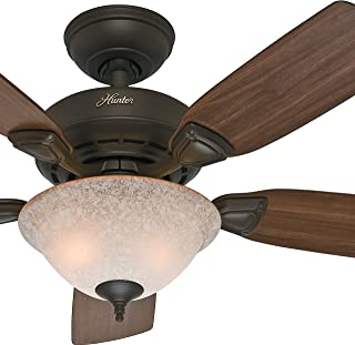 Hunter Fan 44 inch New Bronze Finish Ceiling Fan with Painted Cased White Glass Light Kit - 90% Pre-assembled (Renewed)