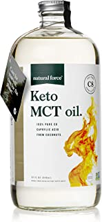 Natural Force Keto MCT Oil, Pure C8 (Caprylic Acid) in Glass Bottle, 32oz | Best for Ketone Production & Quick Energy | Premium MCTs from Non-GMO Verified Coconuts, Keto Certified – NO Palm Oil
