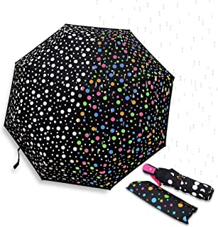 Color Changing Umbrella with Cute Polka Dots Pattern Automatic Open Close Button Portable Light Weight Windproof Good her B11997 (Random)