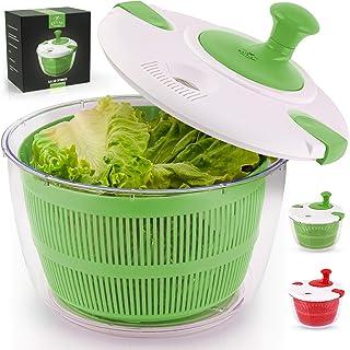 Zulay - Centrifugador de ensalada de cocina, gran capacidad de 5 litros, giratorio manual para lechuga con seguro cierre d...