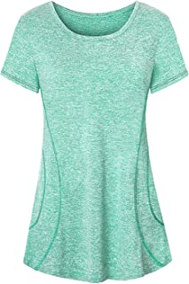 Womens Yoga Running Tops Long Sleeve Crew Neck Casual Loose Gym Shirts