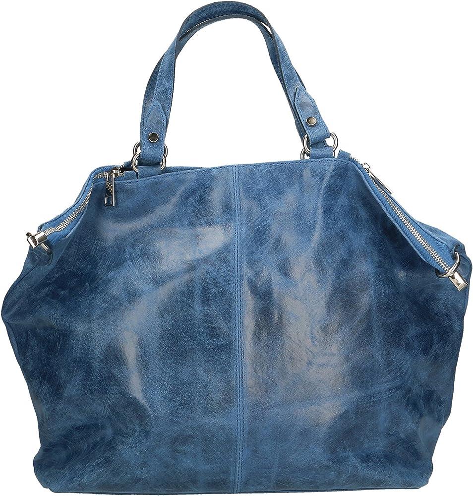Chicca borse ctm,  borsa a mano grande da donna, in vera pelle effetto stampato, con tracolla, blu 80055-BLUJEANS