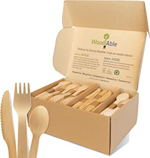 WoodAble - Disposable Wooden Forks, Spoons, Knives Set   Alternative to Plastic Cutlery - Eco Biodegradable Replacements (...