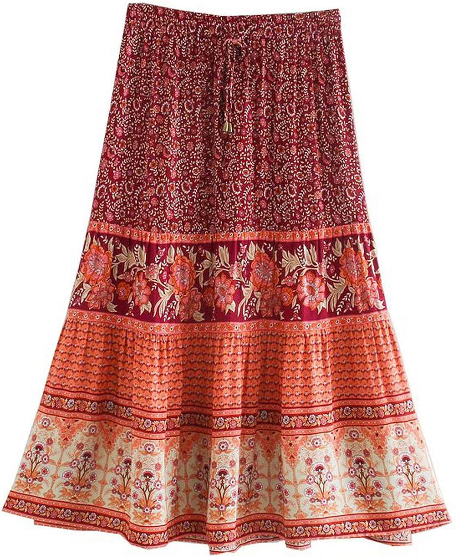 Vintage Women Beach Bohemian Purple Floral Print Skirt High Elastic Waist A-Line Skirt