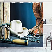 Ambesonne Western Shower Curtain, Backdrop with Antique Horseshoe Hat Cowboy Texas Photography, Cloth Fabric Bathroom Decor Set with Hooks, 75