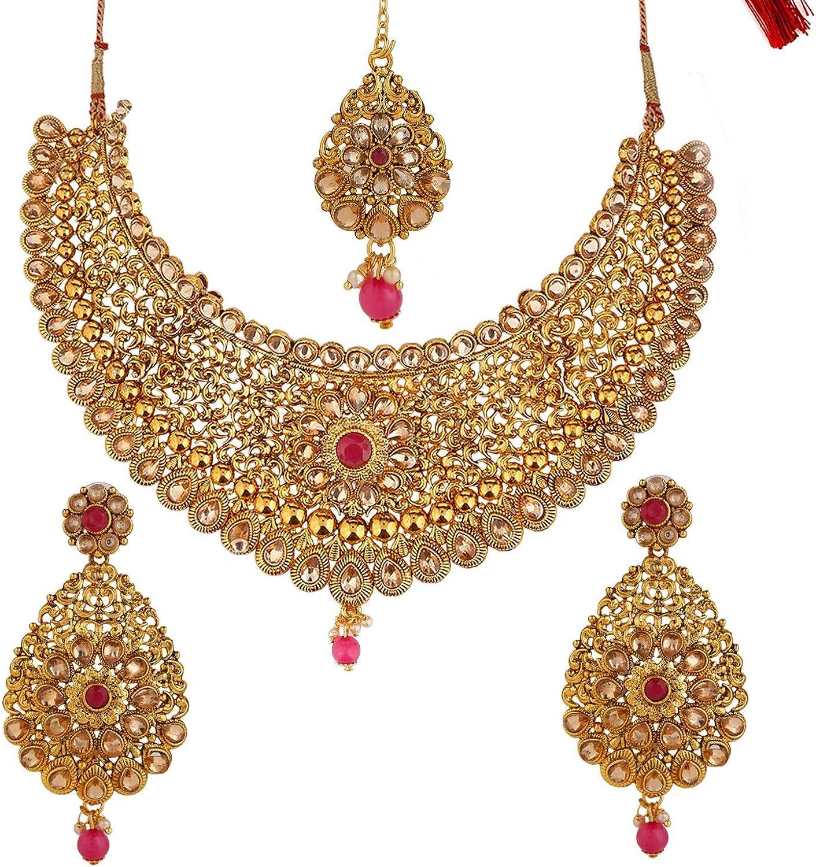 Efulgenz Indian Bollywood Traditional 14 K Gold Plated Crystal Wedding Bridal Choker Necklace Earrings Maangtikka Jewelry Set