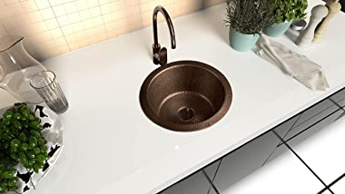 Monarch Abode 17096 Pure Copper Hand Hammered Essex Dual Mount Sink (12 inches)