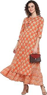 Janasya Indian Women's Peach Pure Cotton Ethnic Dress