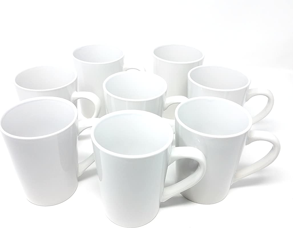 Royal Norflok Whisper White 14 Ounce Coffee Mugs Set Of 8
