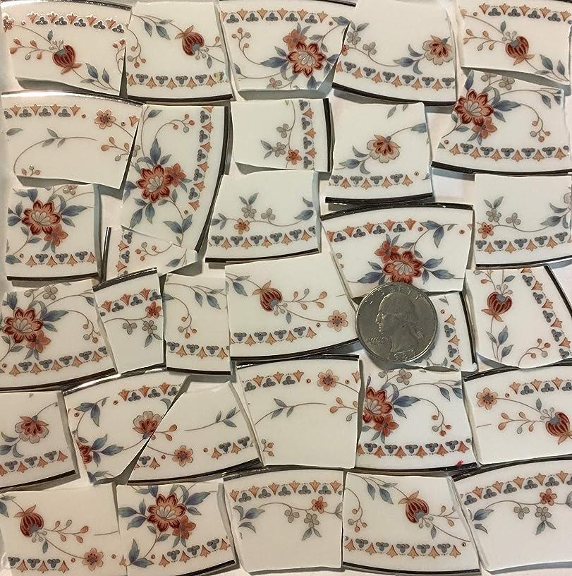 Mosaic Art & Crafts Supply ~ Vintage Fine China Floral Rim Tiles (B536)