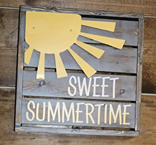 CELYCASY Sweet Summertime Backlit Mini Pallet Style Sign with Metal Sun Embellishment