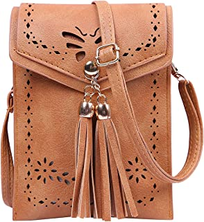 Small Crossbody Pouch Purse Tassel Travel Phone Wallet Vintage Leather Bags