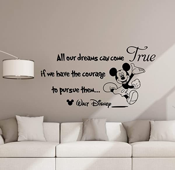 All Our Dreams Can Come True Wall Decal Disney Poster Sign Mickey Mouse Quote Disney Vinyl Sticker Kids Room Decor Playroom Wall Made In USA Fast Delivery