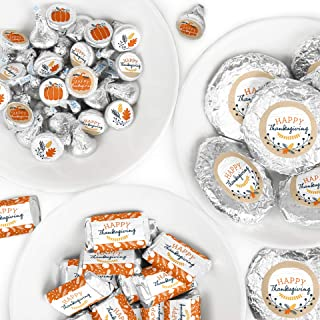 Big Dot of Happiness Happy Thanksgiving - Mini Candy Bar Wrappers, Round Candy Stickers and Circle Stickers - Fall Harvest Party Candy Favor Sticker Kit - 304 Pieces
