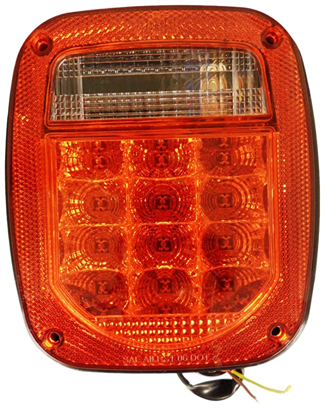 Autosmart KL-25104L Red Lens Universal Stud-Mount Combination LED Tail Light with License Illuminator