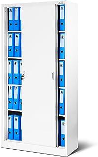 Armoire de bureau à portes coulissantes SD001 tôle d'acier étagères revêtement en poudre verrouillable 185 cm x 90 cm x 40...
