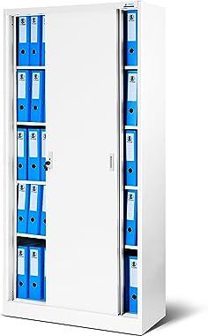 Armoire de bureau à portes coulissantes SD001 tôle d'acier étagères revêtement en poudre verrouillable 185 cm x 90 cm x 4